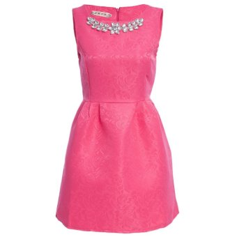 Women Ball Gown Dress Necklace Round Collar Pure Color (Rose) - Intl