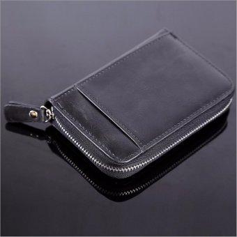 Men Credit ID Card Holder Leather Pocket Wallet Zip Mini Clutch Purse 20 Slots Black - intl