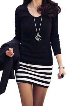 Sunweb Striped Slim Mini Dress (Black/White) - Intl