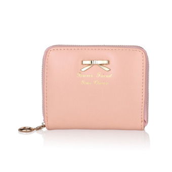 Women Fashion Cute Purse Clutch Wallet Short Small Bag PU Card Holder Pink