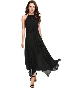 Cyber Women Casual Halter A-Line Pleated Asymmetrical Hem Lace-up Chiffon Maxi Dress ( Black ) - intl