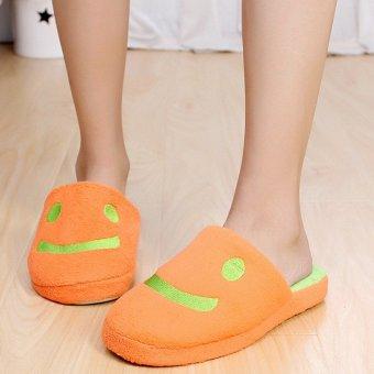 Cartoon Plush Lover Smile Women Shoes House Home Floor Warm Slippers Soft Antiskid Winter Slipper Pantufas Shoes Orange - intl