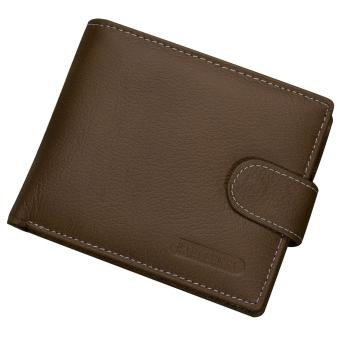 Men PU Leather Retro Money Credit Cards Holder Case Coin Change and Short Wallet Purse Gift Dark Brown - intl