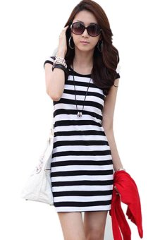 LALANG Short Sleeve Slim Dresses Black and White - Intl