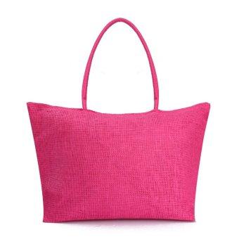 Teamtop Women Summer Straw Weave Shoulder Tote Shopping Lady Beach Bag Purse Handbag HOT Rose Red - intl
