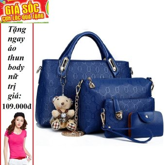 Bộ 4 túi họa tiết cao cấp ( xanh) + Tặng 1 áo thun body nữ