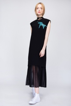Đầm Pleated Hem Long Black - S16T067