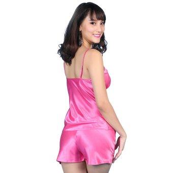 Đồ bộ mặc nhà quần sọt áo hai dây phối ren đính nơ Wannabe BS12A (Hồng Sen)