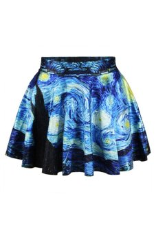 Bluelans Vogue Women's Girl's High Waist Pleated Floral Short Skirt Skater Flared Dress (Intl)