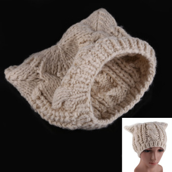 Winter New Fahion Cat Ear Knit Hat Beige