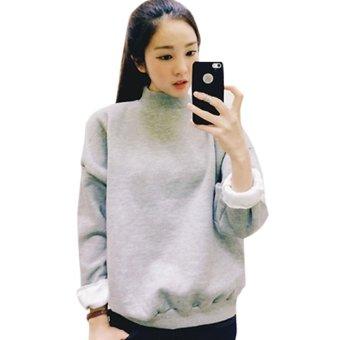 Women Hoodies Sports Sweatshirt Pullover Gray - intl