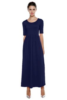 Cyber Meaneor Casual Medium Sleeve Solid Party Maxi Long Full Dress (Navy Blue) - intl