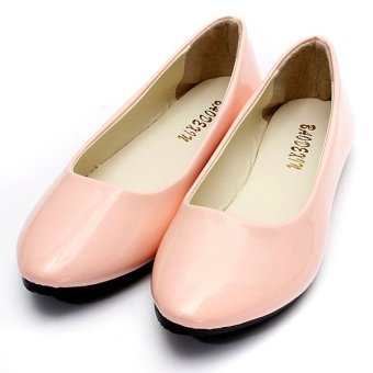 Women's Flat Ballet Casual Shoes Patent Leather Candy Colors Slip On Pumps Shoes - intl