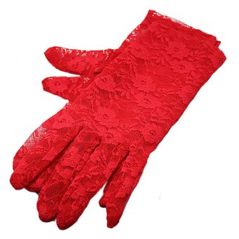 Bluelans Women's Wedding Driving Evening Lace Gloves (Red) (Intl)