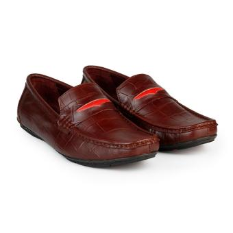 Giày Lười Nam Da Bò Vân Cá Sấu HC1223 (Nâu)