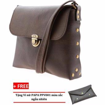 Túi đeo chéo nữ PAPA PPT003 (Màu Nâu) + Ví nữ PAPA PPV001