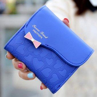 Moonar Bowknot PU leather short women zipper wallet (deep blue) - intl