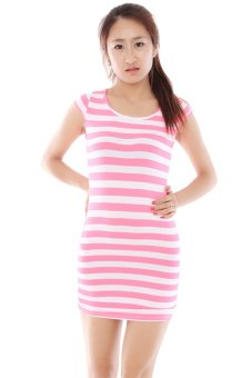 LALANG Stripe Short-Sleeve Slim Dress (Pink/White) - Intl