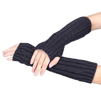Knitted Arm Fingerless Winter Gloves Unisex Soft Warm Mitten Gray