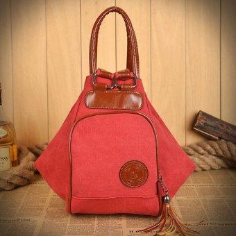 Canvas Women Bags Backpack TraveL Rucksack Red - Intl