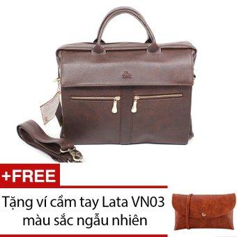 Cặp nam LATA CA09 (Da nâu) + Tặng 1 ví cầm tay Lata VN03