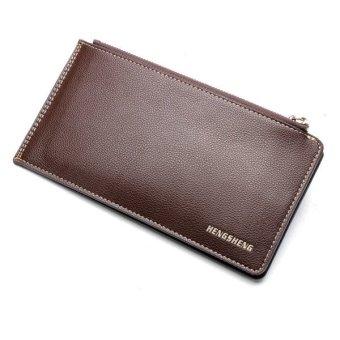 Zipper long men leather wallet Light Coffee - intl