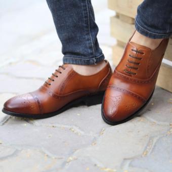 Giày buộc dây nam cao cấp Kazin màu nâu vàng - KZV0038