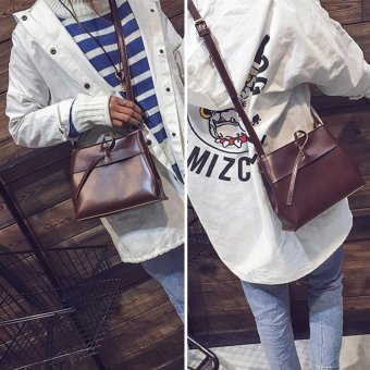 New Women PU Leather Mini Barrel Tassel Retro Flip Shoulder Bag (Dark Brown) - intl