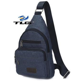Túi Đeo Ngực Canvas Phối Da Phong Cách Đồ Da Thành Long TLG 208071-3(xanh)