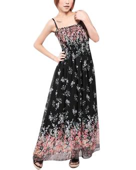 Zanzea Summer Sexy Women Maxi Floral Dress Casual Long Chiffon Sundress Beach Dress Black - Intl
