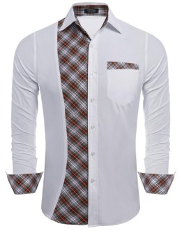 Linemart Mens Casual Long Sleeve Patchwork Plaid Button Down Shirt ( White ) - intl