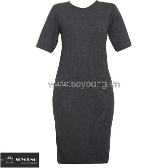 Váy Midi Body Len Dáng Dài Cộc Tay SoYoung DRESS 0066 CHA