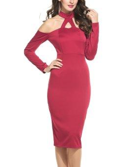 Linemart Women Fashion Sexy Off Shoulder Halter Long Sleeve Solid Bodycon Party Club Pencil Dress ( Dark Red ) - intl