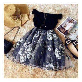 Đầm Xòe Bẹt Vai Chân Váy Hoa Kiếng Hana Fashion