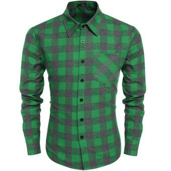 Cyber Coofandy Men's Casual Plaid Long Sleeve Turndown Neck Shirt (Grey) - Intl
