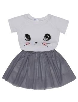 Cyber Kids Girl O-Neck Short Sleeve Print Tops and Skirt Sets ( White ) - intl