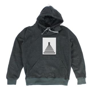 Áo khoác hoodie nữ in hình Geometric Stair Flowers (xám đậm)
