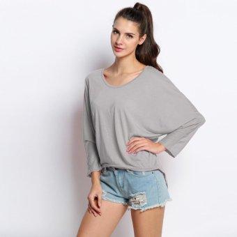 Sunweb New Women Fashion Casual O-Neck Loose Irregular Batwing Long Sleeve Tops Blouse ( Gray ) - intl
