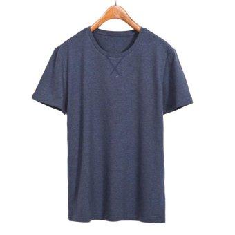 Men Summer Pure Color Summer Shirt Men Round Neck Short Sleeve T-shirt Cotton O-Neck Plus SizeT Shirts - intl
