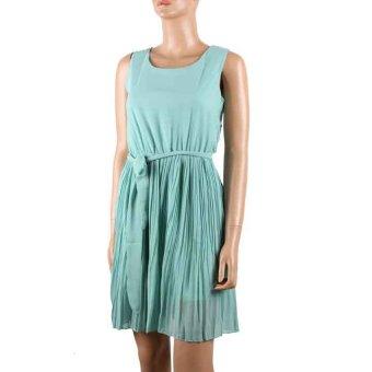 Fancyqube Women Beach Mini Chiffon Summer Dress (Green)