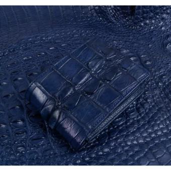 Ví da cá sấu đuôi gai to made in việt nam xanh navy