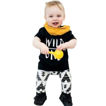 Baby Set Letter Print T-Shirt +Geometric Pattern Pants Boys Clothing Suit - intl