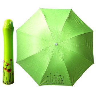 Fashion Portable Bottle Umbrella Rose Folding Sun & Rain Umbrella Green - intl