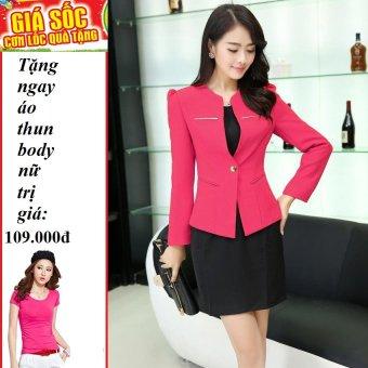Áo vest nữ phối nẹp kim loại (hồng ) + Tặng 1 áo thun body nữ