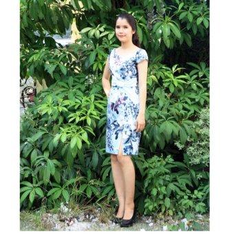 Đầm xanh trắng nơ Cocoxi 18DT08