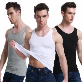 Bộ 3 áo thun ba lỗ body nam thoitrangtrandoanh (Đen/ Trắng/ Xám)