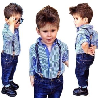 Baby Boys Striped Collared Shirt Tops Bib+Straps Jeans Overalls Outfit 1Set - intl