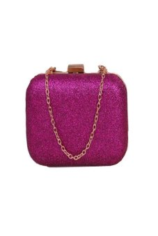 HKS Fashion Women Clutch Box Evening Party Glitter Chain Hand Bags Wallet Hot Pink - intl