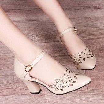 Giày cao gót laze hoa ( kem )