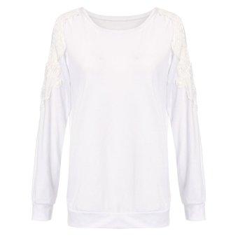 Zanzea Womens Lace Crochet Splice Off Shoulder Long Sleeve Round Neck Blouse White - Intl